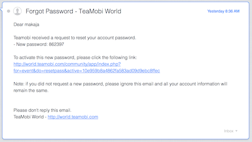 TeaMobi World - FORGOT PASSWORD BY EMAIL
