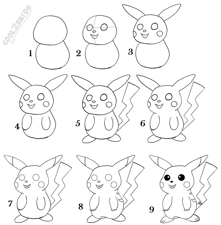 Teamobi world steps to draw pikachu for Cool easy drawing steps